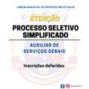 Inscrições deferidas para o processo seletivo de Auxiliar de Serviços Gerais