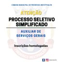Inscrições homologadas para Auxiliar de Serviços Gerais